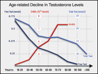 Decline in testosterone in men with age