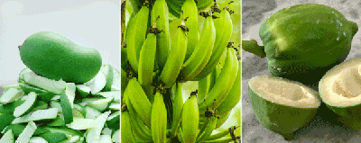 Resistant starch and green banana, green mango and green papaya