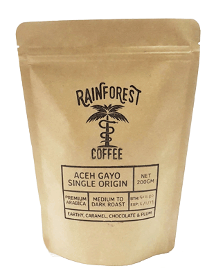 Aceh Gayo Arabica Single Origin 200gm from Rainforest Coffee Malaysia