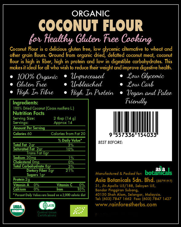 Organic Coconut Flour Nutrition Facts