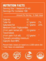 Nutrition Facts Minyak Intelligen C8 MCT Oil 500ml