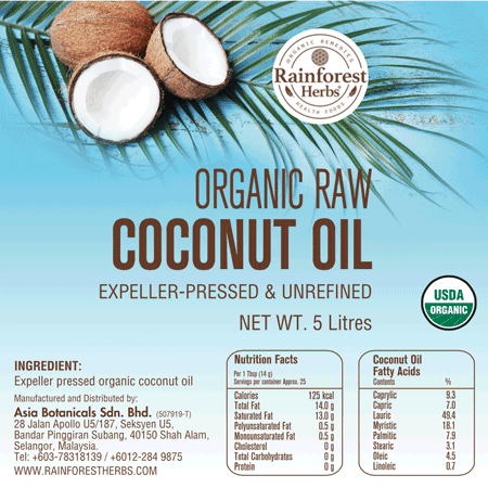 Organic Raw Coconut Oil 5 Litres - Rainforest Herbs