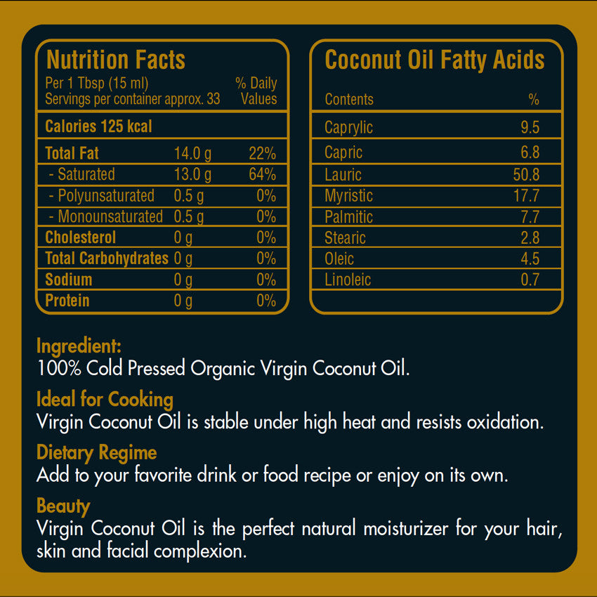 Nutrition Facts of Organic Virgin Coconut Oil 500ml in Malaysia