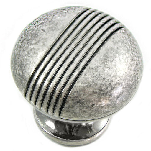 MNG Hardware M-12511 Striped Distressed Antique Silver Round Knob - KnobDepot.com