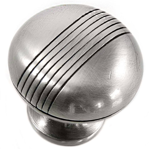 MNG Hardware M-12521 Striped Satin Antique Chrome Round Knob - KnobDepot.com