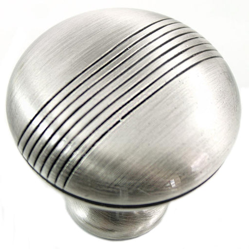 MNG Hardware M-13221 Striped Satin Chrome Round Knob - Knob Depot