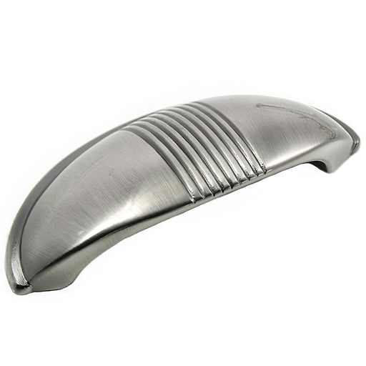 MNG Hardware M-13621 Striped Satin Antique Chrome Cup Pull - KnobDepot.com