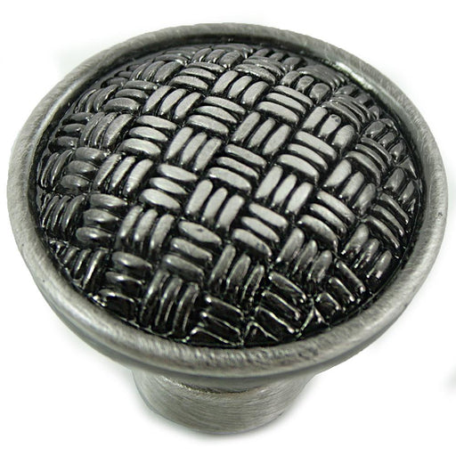 MNG Hardware M-14511 The Rattan Collection Satin Antique Silver Round Knob - Knob Depot