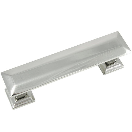 MNG Hardware M-83614 The Poise Collection Polished Nickel Pull with Backplate - KnobDepot.com