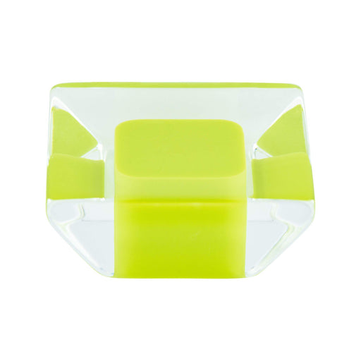 R. Christensen RC-9751-7000 Core Lime/Transparent Square Knob - Knob Depot