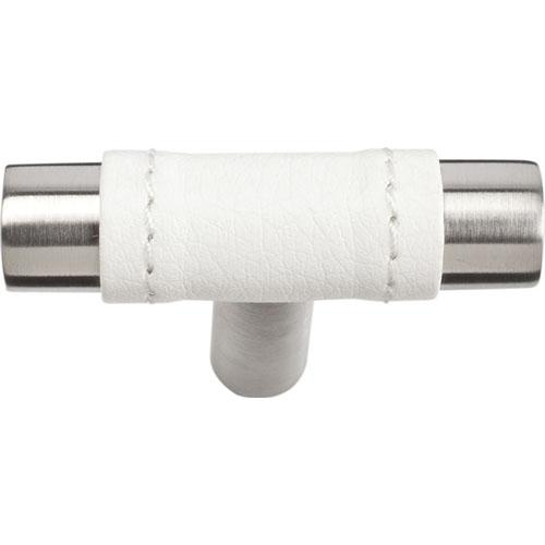 Atlas Homewares AT-288-WT-SS  Zanzibar - White Stainless Steel T-Knob - KnobDepot.com