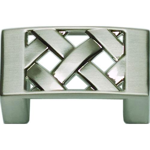 Atlas Homewares AT-309-BRN  Lattice Brushed Nickel Rectangular Knob - KnobDepot.com