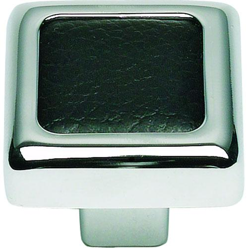 Atlas Homewares AT-3149-BL  Paradigm Chrome/Blk Leather Square Knob - Knob Depot