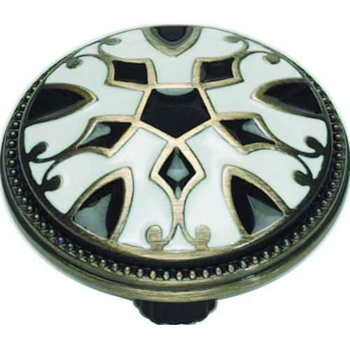 Atlas Homewares AT-3186-B-W  Canterbury Black And White Round Knob - KnobDepot.com