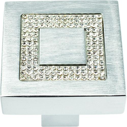 Atlas Homewares AT-3192-MC  Boutique Crystal Matte Chrome Square Knob - KnobDepot.com