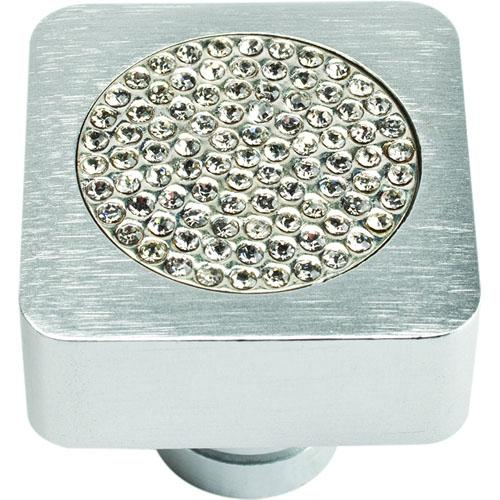 Atlas Homewares AT-3193-MC  Boutique Crystal Matte Chrome Square Knob - KnobDepot.com