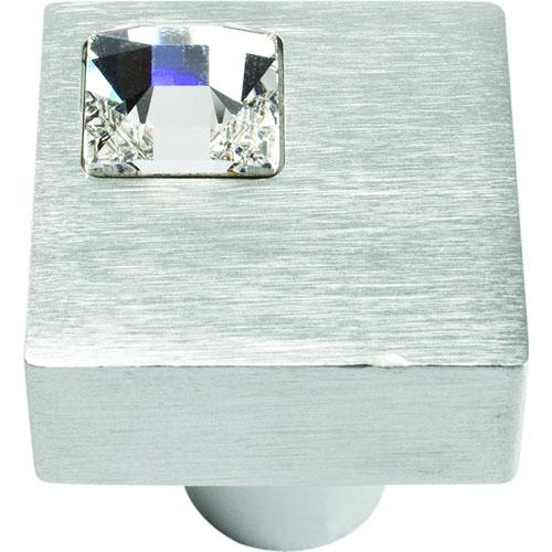Atlas Homewares AT-3194-MC  Boutique Crystal Matte Chrome Square Knob - KnobDepot.com