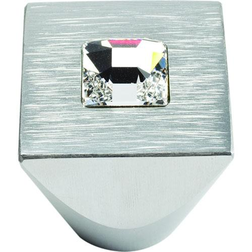 Atlas Homewares AT-3195-MC  Boutique Crystal Matte Chrome Square Knob - KnobDepot.com