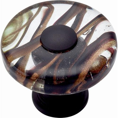 Atlas Homewares AT-3206-O  Glass Oil Rubbed Bronze Round Knob - Knob Depot