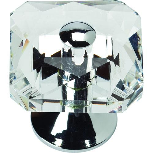 Atlas Homewares AT-3209-CH  Boutique Crystal Polished Chrome Square Knob - KnobDepot.com