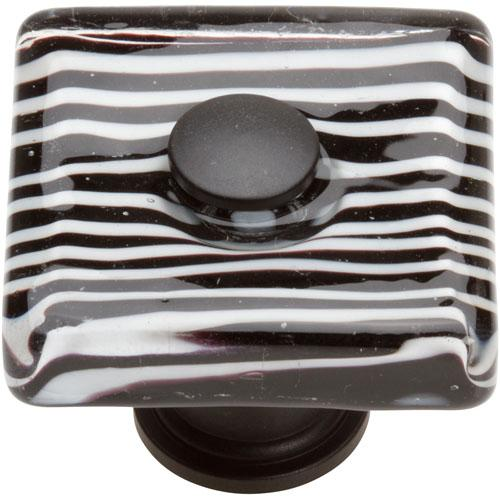 Atlas Homewares AT-3223-BL  Glass Matte Black Square Knob - Knob Depot