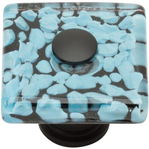 Atlas Homewares AT-3225-BL  Glass Matte Black Square Knob - Knob Depot