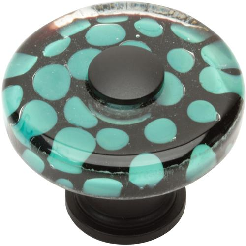 Atlas Homewares AT-3227-BL  Glass Matte Black Round Knob - Knob Depot