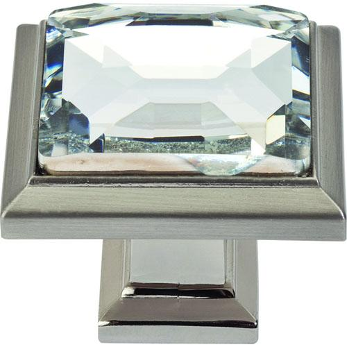 Atlas Homewares AT-340-BRN  Legacy Crystal Brushed Nickel Square Knob - KnobDepot.com