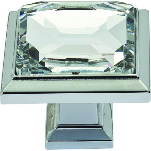 Atlas Homewares AT-340-CH  Legacy Crystal Polished Chrome Square Knob - KnobDepot.com