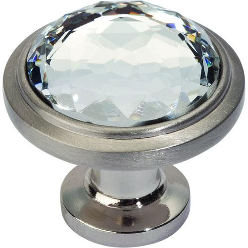 Atlas Homewares AT-343-BRN  Legacy Crystal Brushed Nickel Round Knob - KnobDepot.com
