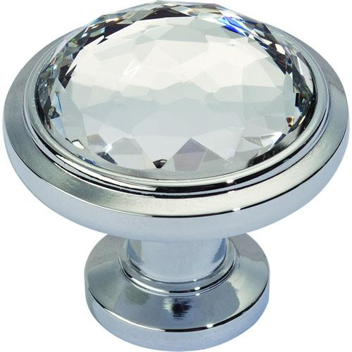 Atlas Homewares AT-343-CH  Legacy Crystal Polished Chrome Round Knob - KnobDepot.com