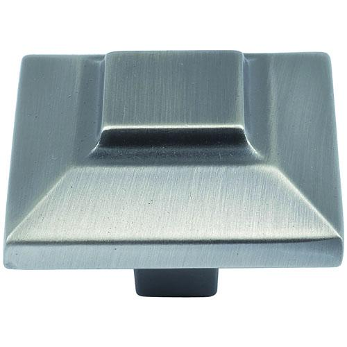 Atlas Homewares AT-4002-P  Trocadero Pewter Square Knob - Knob Depot