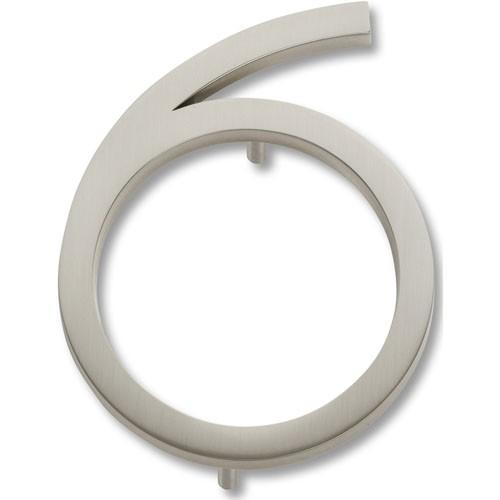 Atlas Homewares AT-AVN6-BRN  Avalon - Outside Hardware Brushed Nickel House Number - KnobDepot.com