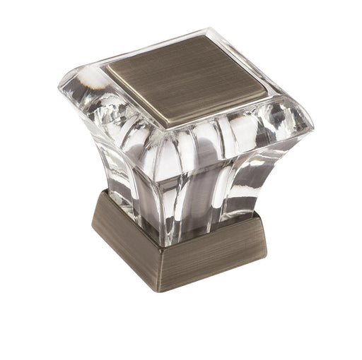 Amerock A-BP29460-CAS Abernathy Glass & Antique Silver Square Knob - KnobDepot.com