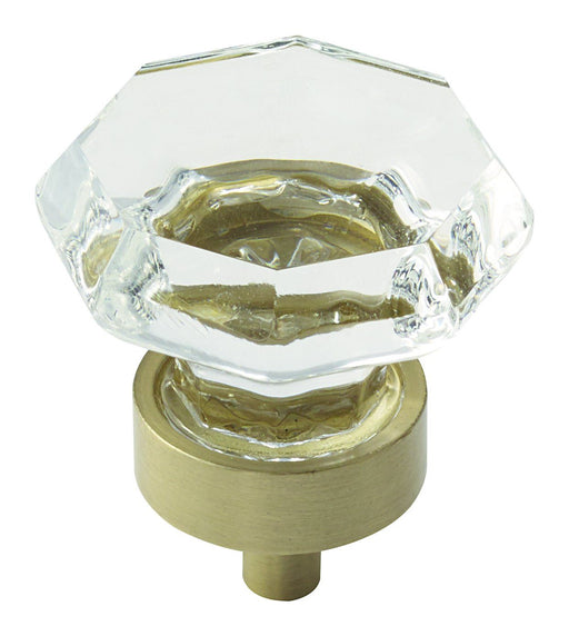 Amerock A-BP55268CBBZ Traditional Classics Clear Glass/Golden Champagne Octagon Knob - KnobDepot.com
