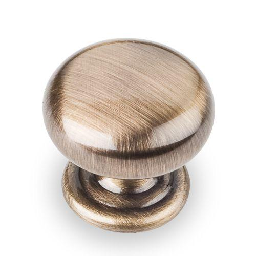 Elements E-2980AB Florence Brushed Antique Brass Round Knob - Knob Depot