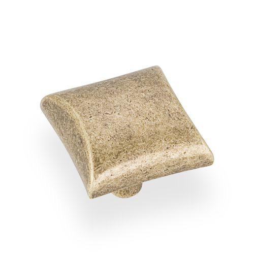 Elements E-525ABM-D Glendale Distressed Antique Brass Square Knob - KnobDepot.com