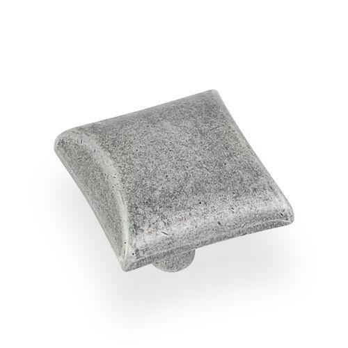 Elements E-525SIM Glendale Distressed Antique Silver Square Knob - KnobDepot.com