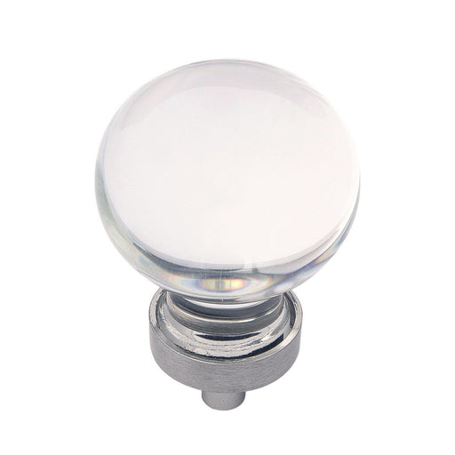 Hickory Hardware H-HH075853-GLSN Contemporary/Gemstone Glass & Satin Nickel Round Knob - Knob Depot