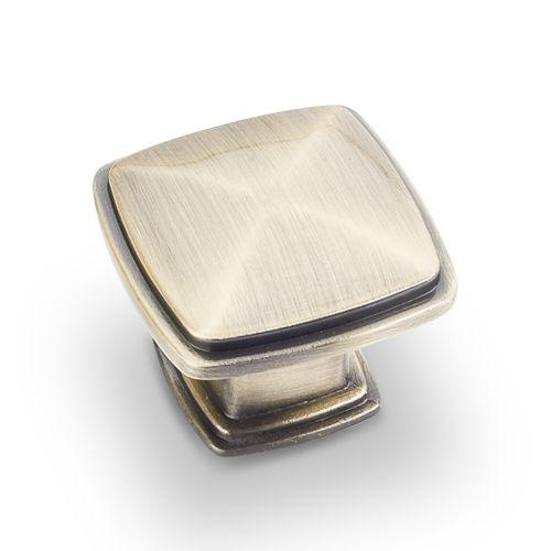 Jeffrey Alexander JA-1091AB Milan Brushed Antique Brass Square Knob - KnobDepot.com