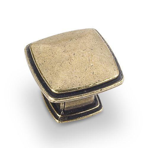 Jeffrey Alexander JA-1091AEM Milan Lightly Distressed Antique Brass Square Knob - KnobDepot.com