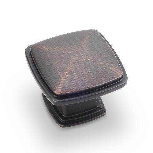 Jeffrey Alexander JA-1091DBAC Milan Brushed Oil Rubbed Bronze Square Knob - KnobDepot.com