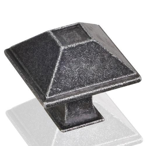 Jeffrey Alexander JA-602S-SIM Tahoe Distressed Antique Silver Pyramid Square Knob
