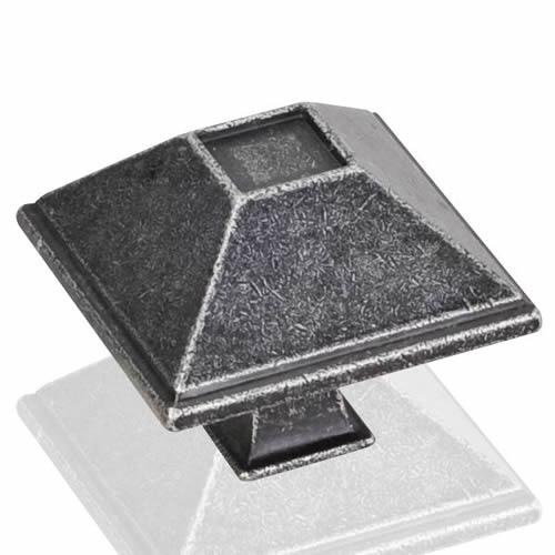 Jeffrey Alexander JA-602SIM Tahoe Distressed Antique Silver Pyramid Square Knob - KnobDepot.com