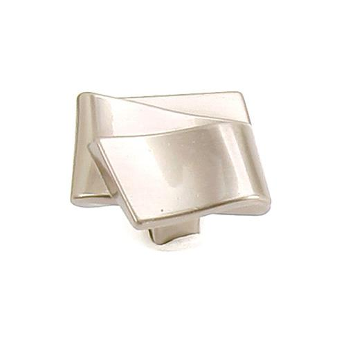 Laurey L-38428 Diva Satin Nickel Square Knob - Knob Depot