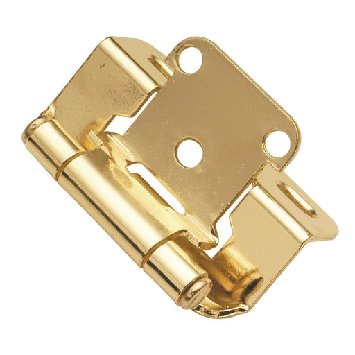 Hickory Hardware H-P2710F-3 Functional/Self-Closing Semi-Concealed Polished Brass Hinge - KnobDepot.com