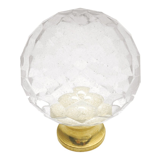 Hickory Hardware H-P30-CA3 Traditional/Crystal Palace Crysacrylic & Polished Brass Round Knob - Knob Depot