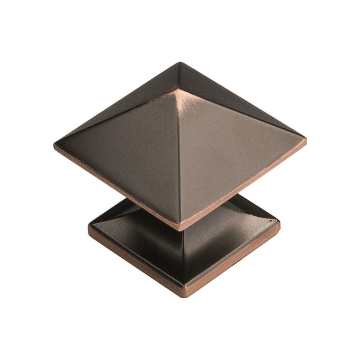 Hickory Hardware H-P3014-OBH Contemporary/Studio Oil Rubbed Bronze Highlighted Pyramid Square Knob - Knob Depot