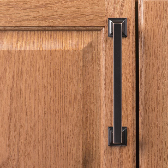 Hickory Hardware H-P3018-OBH Contemporary/Studio Oil-Rubbed Bronze Highlighted Square Pull - KnobDepot.com