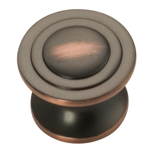 Hickory Hardware H-P3101-OBH Contemporary/Deco Oil Rubbed Bronze Highlighted Round Knob - KnobDepot.com
